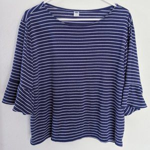 Navy Blue and White Striped Bell Sleeve T-shirt